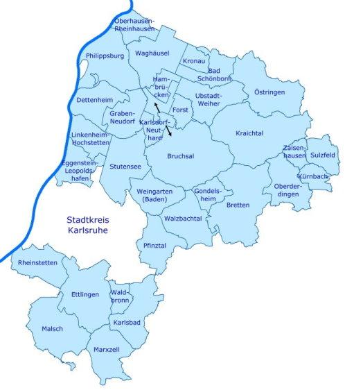 Landkreis Karte mit Gemeinden